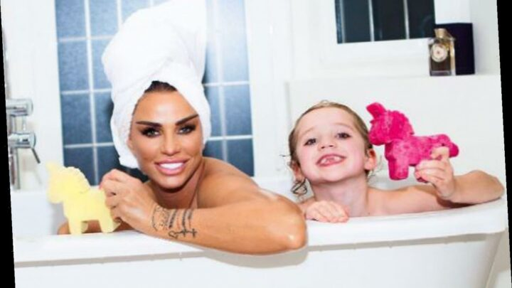 Katie Price strips naked for a bath with daughter Bunny, 6