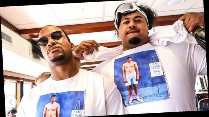 Tom Brady teammates troll Bucs' quarterback at Super Bowl parade with combine photo t-shirts