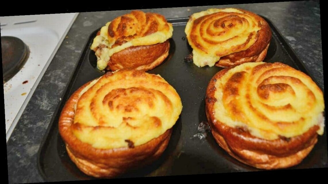 Cook sends foodies into a frenzy over shepherds pie-stuffed Yorkshire pud recipe