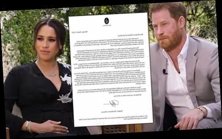 Meghan Markle and Harry 'reassert UK ties' with letter in wake of Oprah interview