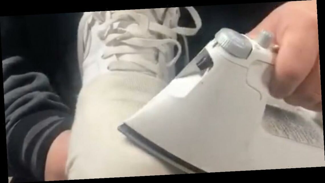 Man's clever hack removes creases from worn-out trainers using an iron