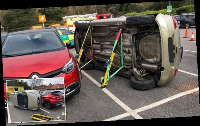 Elderly driver flips her Vauxhall Corsa onto its side while parking