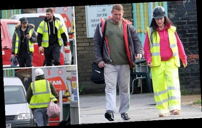 Visitors in trainers and high-vis jackets are seen outside gym