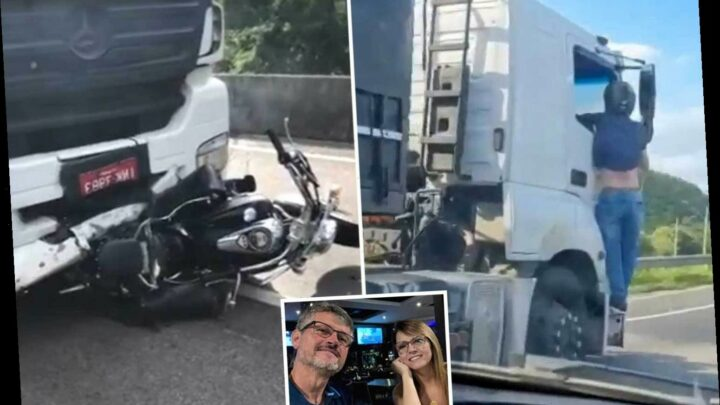 Husband desperately clings onto lorry for 19 MILES after drug-driver rams his bike killing his wife