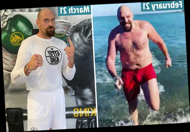 Tyson Fury looks unrecognisable as he shows off amazing trim figure after body transformation for Anthony Joshua fight