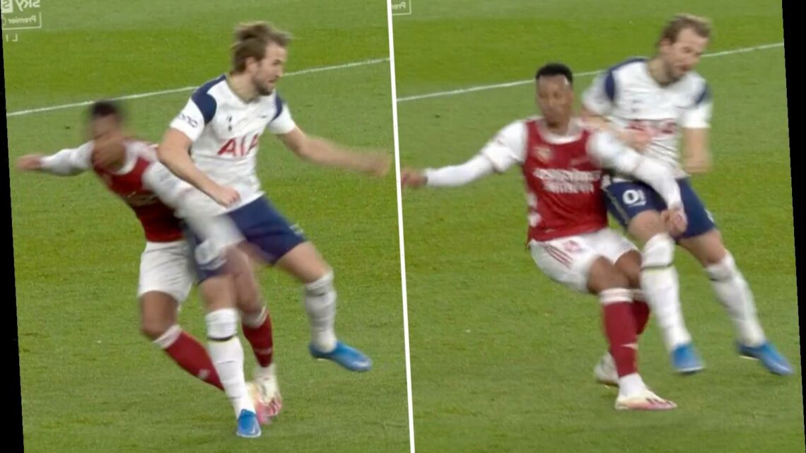 Watch Harry Kane's brutal challenge on Gabriel as Arsenal fans question why VAR didn't send Spurs star off in derby