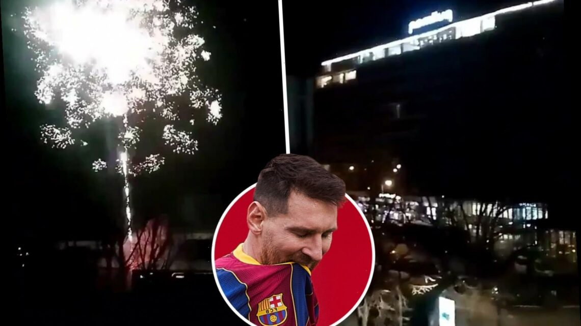 Watch PSG fans set off fireworks outside Barcelona's hotel at 4am ahead of Champions League tie as payback for first leg