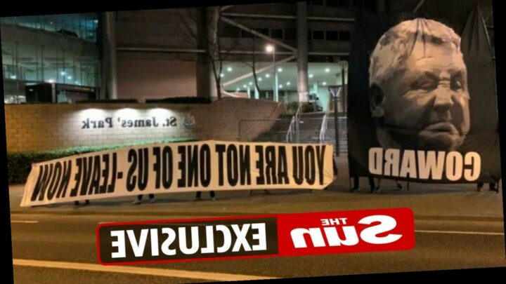 Newcastle fans hold banner outside St James' Park calling manager Steve Bruce a 'coward' and tell him to 'leave now'