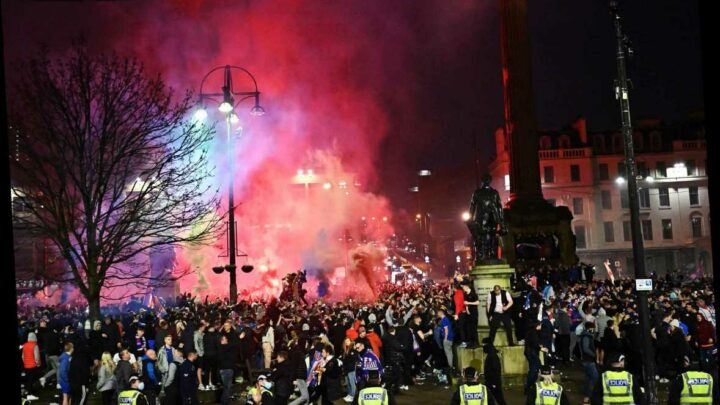 Rangers fans arrested at title party in Glasgow city centre as Nicola Sturgeon brands them 'disgraceful'