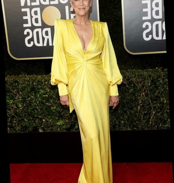 Jamie Lee Curtis Dares to Bare in Plunging Yellow Gown at the 2021 Golden Globes
