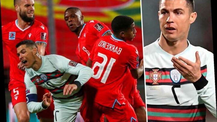 Cristiano Ronaldo left with bloodied face after being smashed in nose during Portugal win over Luxembourg
