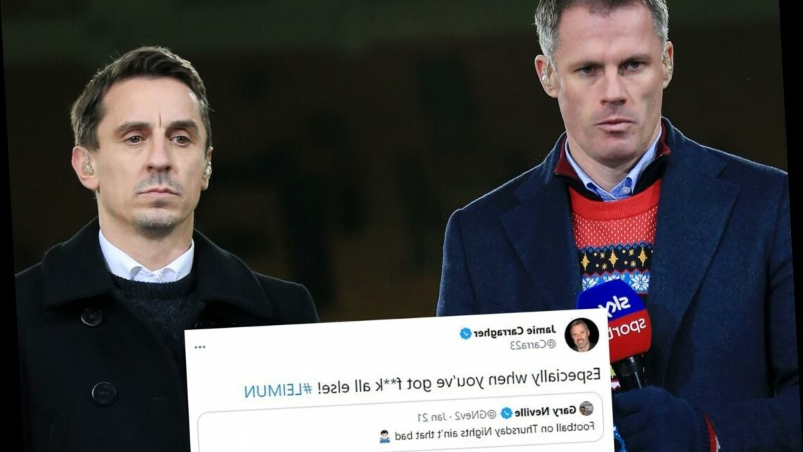 Carragher takes hilarious pop at Gary Neville after digging up two-month old tweet about Man Utd on Thursday nights
