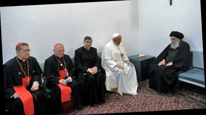 Pope Francis holds historic meeting with religious groups, top Iraq Shiite cleric