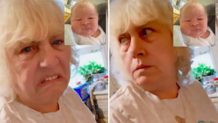 Awkward moment gran recoils from 'ugly baby photo' before realising she is 'FaceTiming the parents'