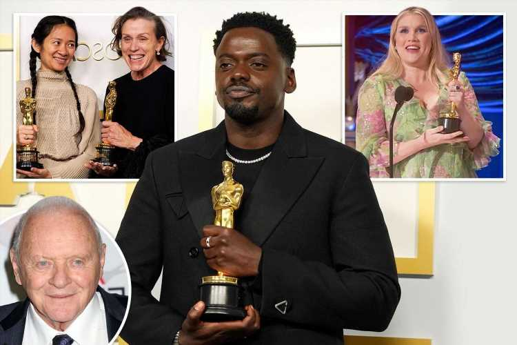 Brits lead Oscars 2021 winners as Anthony Hopkins takes best actor award and Daniel Kaluuya scoops best supporting gong