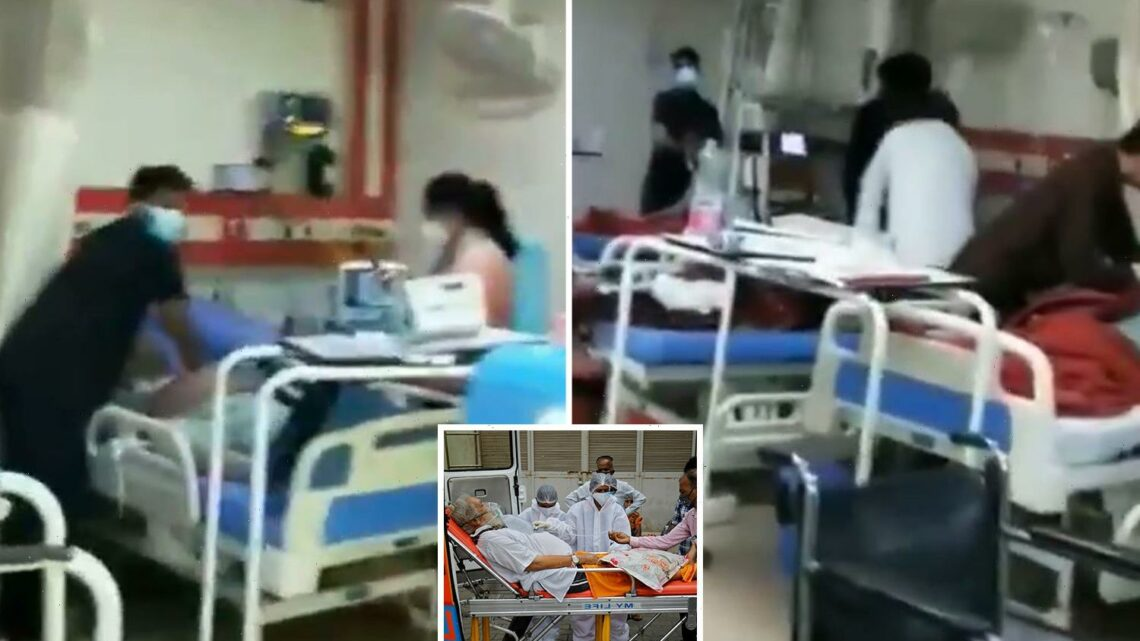 Horrifying moment dying Covid patients gasp for breath as Indian hospital runs out of oxygen in virus 'apocalypse'