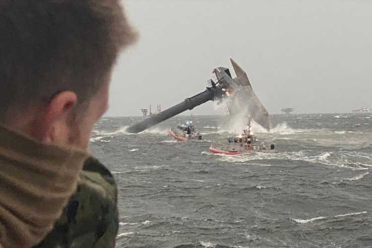 Louisiana capsizing –  One person dead and 12 still missing after 129ft ship flips in 'microburst' storm off Louisiana
