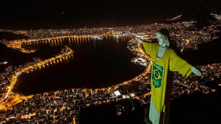 Olympics: Rio's Christ the Redeemer lit up to mark 100 days till the Tokyo Games