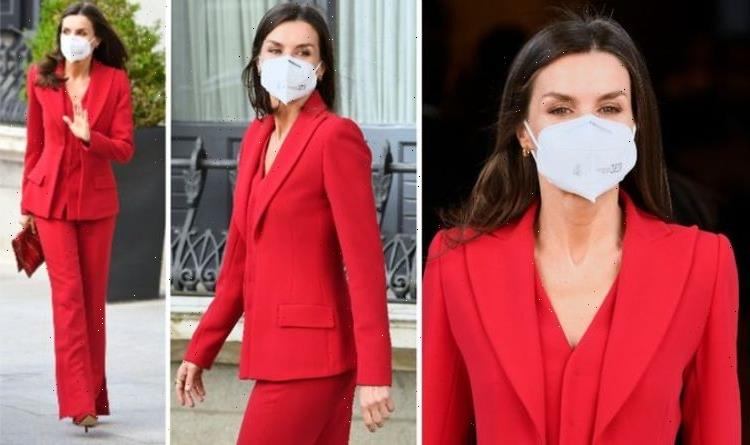 Queen Letizia stuns in bold red suit to pay tribute to Spanish women's rights activist