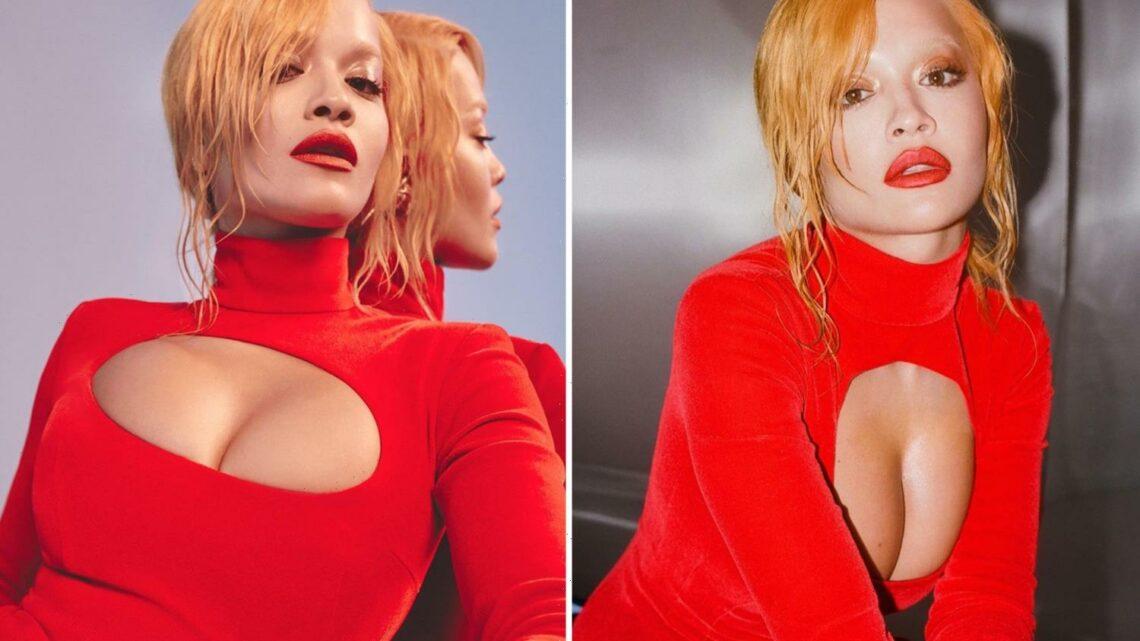 Rita Ora looks unrecognisable with dramatic new orange hairdo in sexy music video snaps