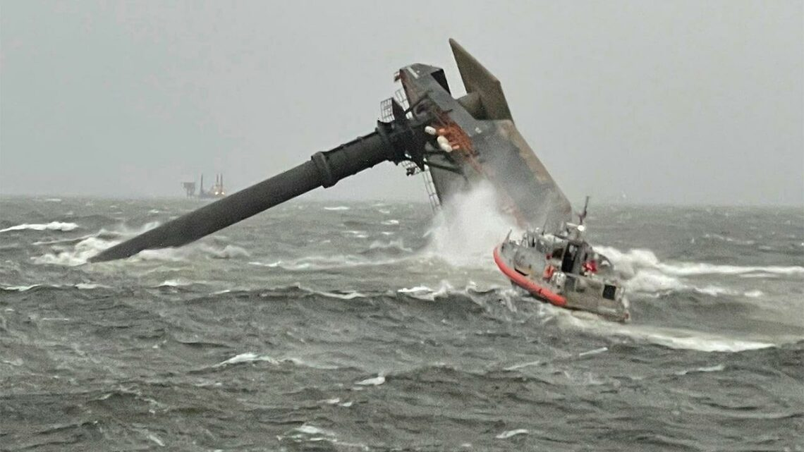 Search for Gulf Coast's capsized ship survivors curtailed by rough weather