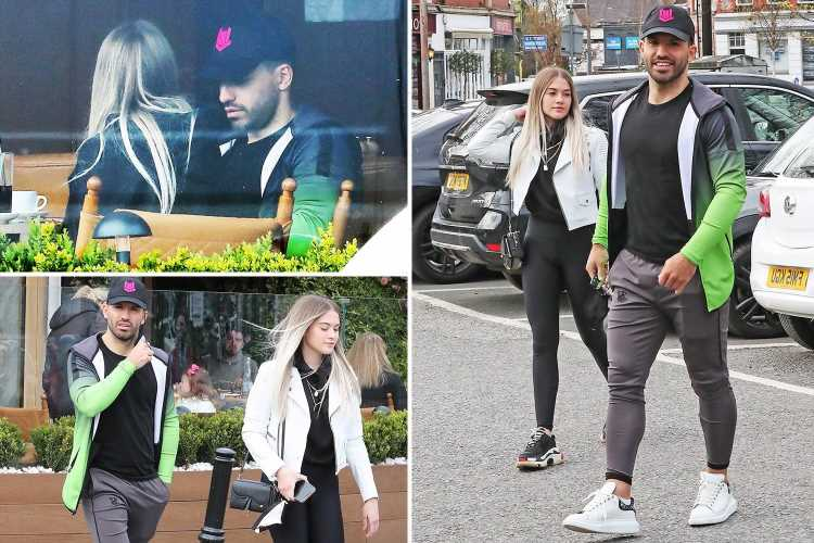 Sergio Aguero takes girlfriend Sofia to lunch in Cheshire with Man City star's agent in Barcelona amid transfer links