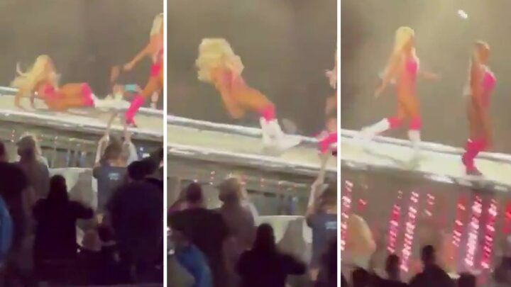 WWE star Mandy Rose suffers embarrassing fall during WrestleMania 37 entrance after rainstorm caused huge delays