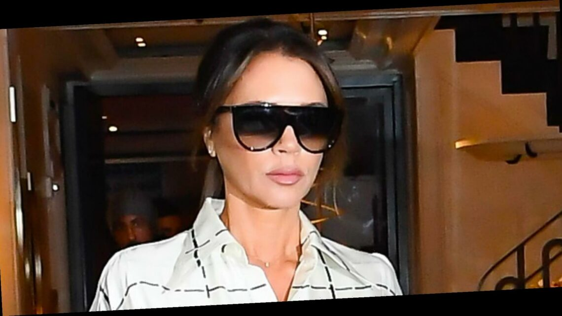 Victoria Beckham Wore Leopard Print With a Lace Cutout