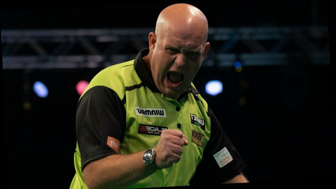 Michael van Gerwen crushed rival Peter Wright in Tuesday night's Premier League Darts action