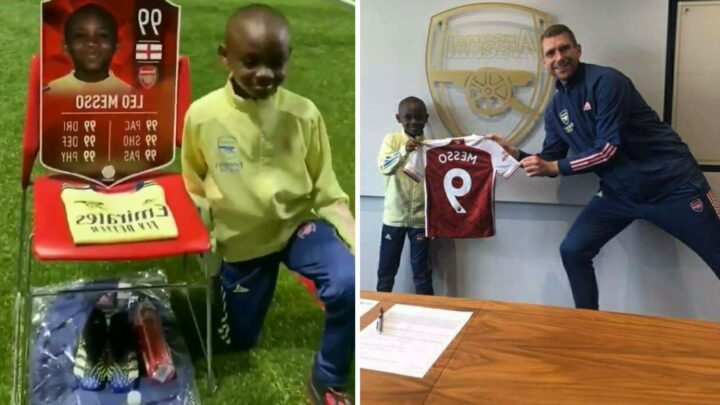 Arsenal sign 10-year-old wonderkid Leo Messo as he poses with Per Mertesacker and is gifted special 99 FIFA card