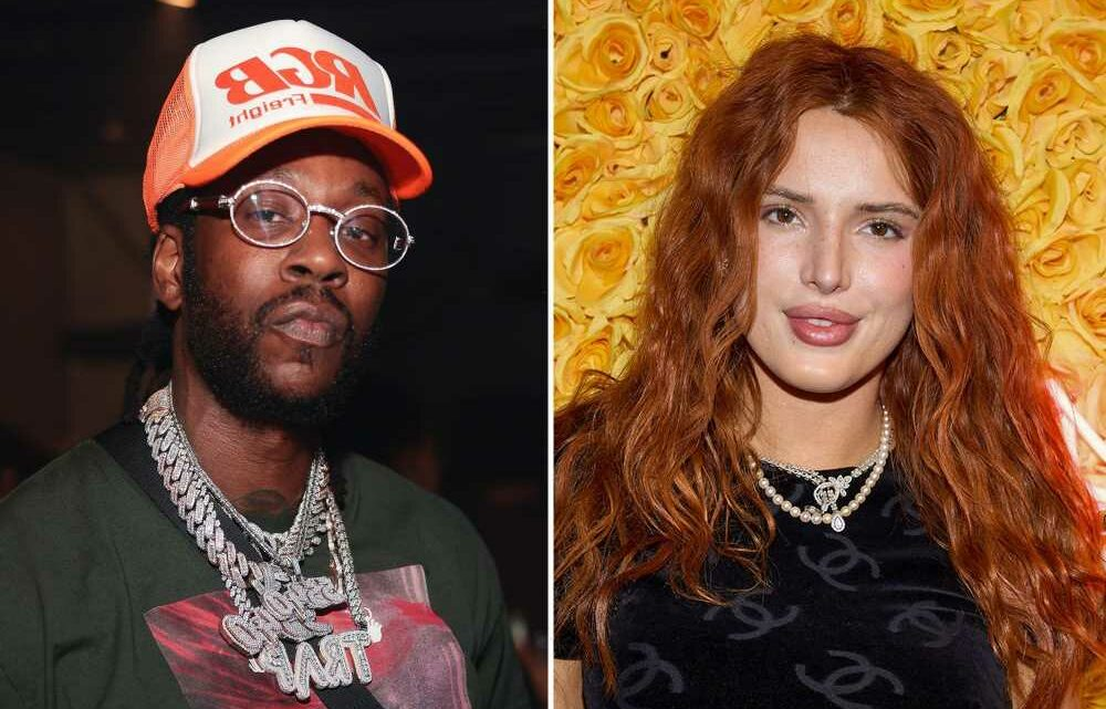 Bella Thorne and 2Chainz compare jewelry backstage in Miami