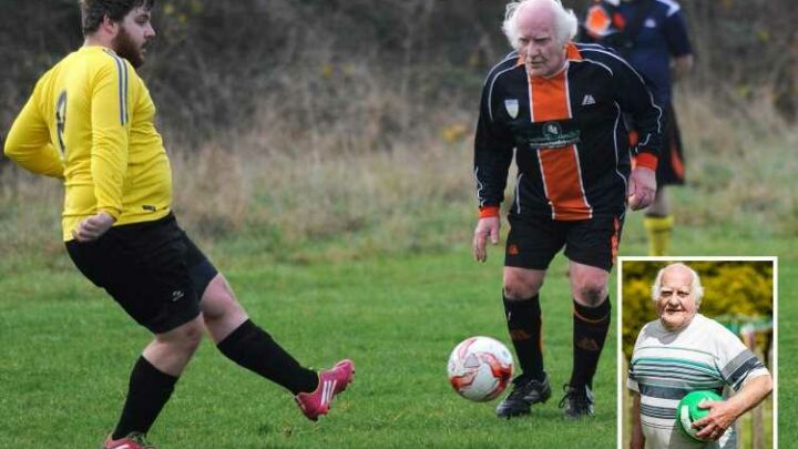 Britain's oldest footballer, 85, vows back injury will not stop him playing