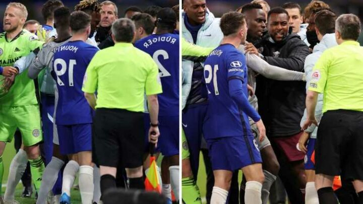 Chelsea and Leicester hit with FA charge over failure to control their players over injury-time brawl