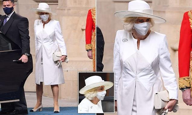 Duchess of Cornwall in white at State Opening of Parliament