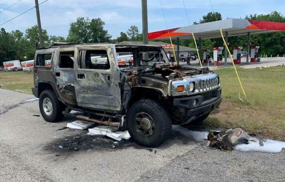 Hummer hauling fuel bursts into flames in Florida