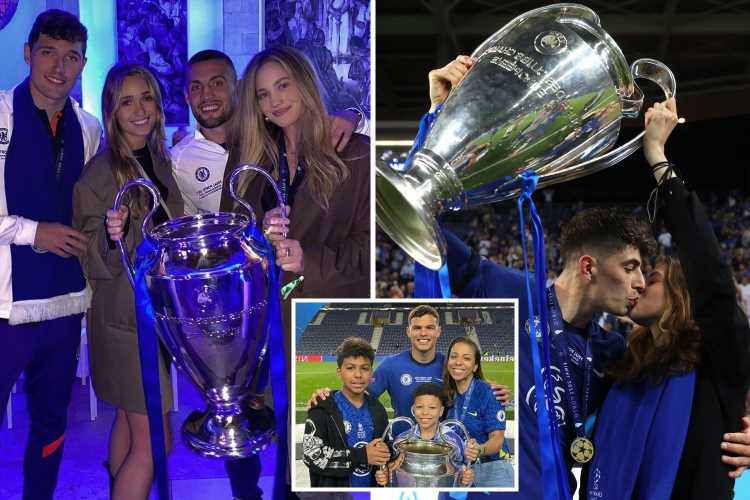 Inside Chelsea's Wags Champions League celebrations with Thiago Silva's wife on the pitch and Izabel Kovacic's lucky hat