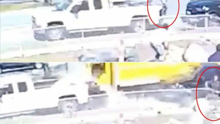 Man leaps from truck as moving van plows into vehicles, video shows