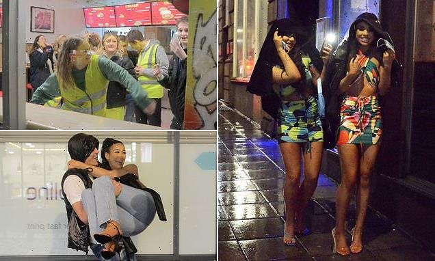 Revellers brave rain to hit pubs and bars in Leeds