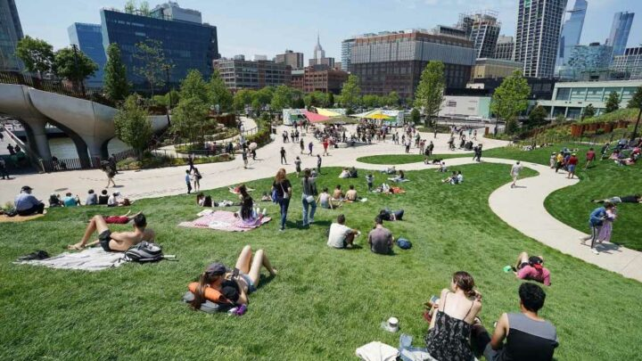 Thousands of NYers soak up sun at Little Island park's grand opening