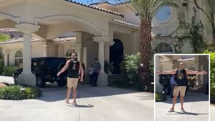 Tyson Fury claims to have bought 'another house in Vegas' during Anthony Joshua fight camp as he enters stunning pad