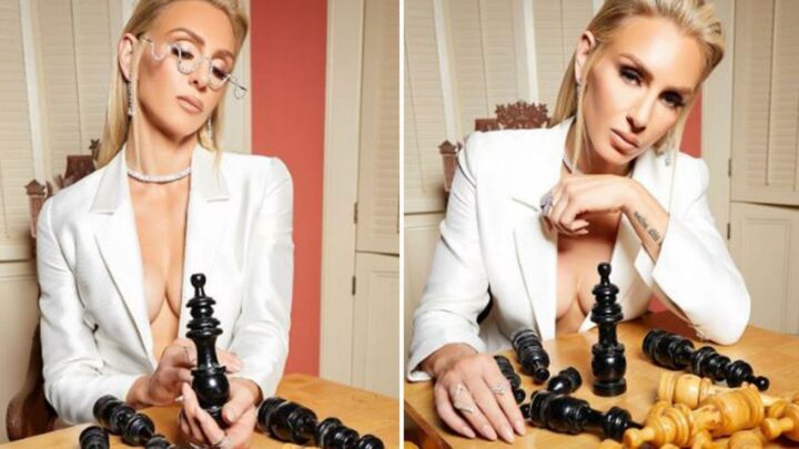 WWE star Charlotte Flair leaves little to imagination with braless Queen's Gambit-style shoot in eye-popping outfit