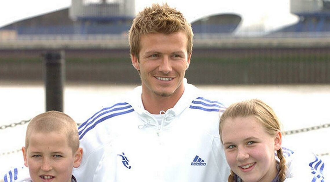 David Beckham poses with 11 year old Harry Kane and childhood sweetheart in amazing throwback snap