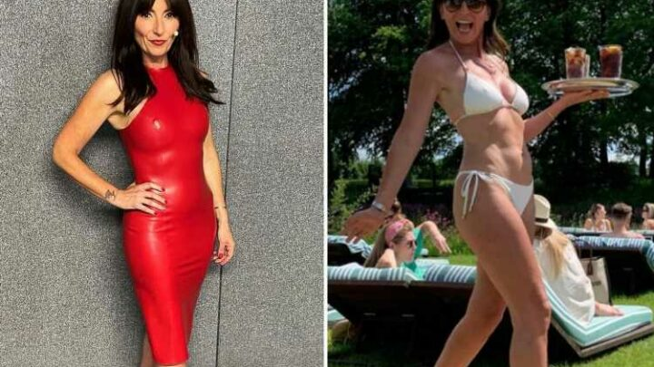 Davina McCall, 53, shows off her incredible bikini body as she dishes out drinks in the heatwave