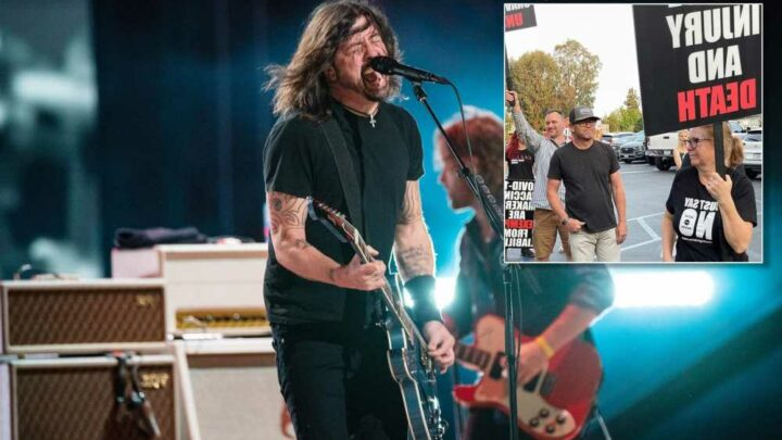 Foo Fighters fighting off anti-vaccine protesters in LA