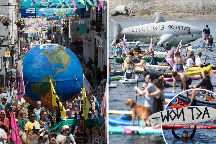 G7 summit 2021 protesters take to the sea in kayaks, boats and paddle boards to demand action on climate change