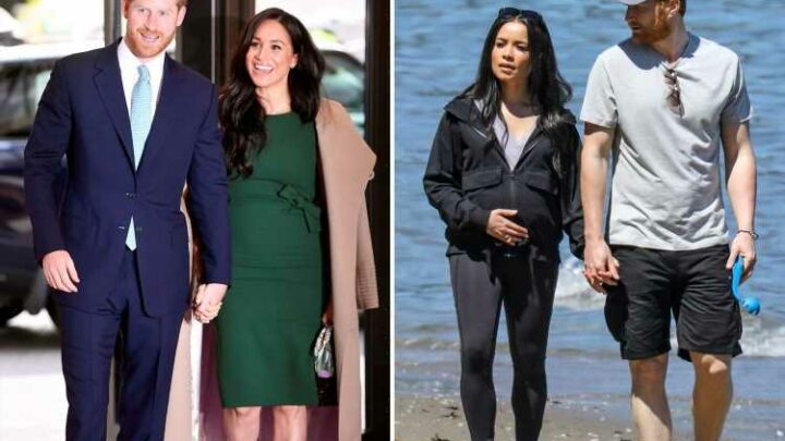 Harry & Meghan lookalikes playing couple in 'escaping the palace' movie hit the beach to film pair's new life abroad
