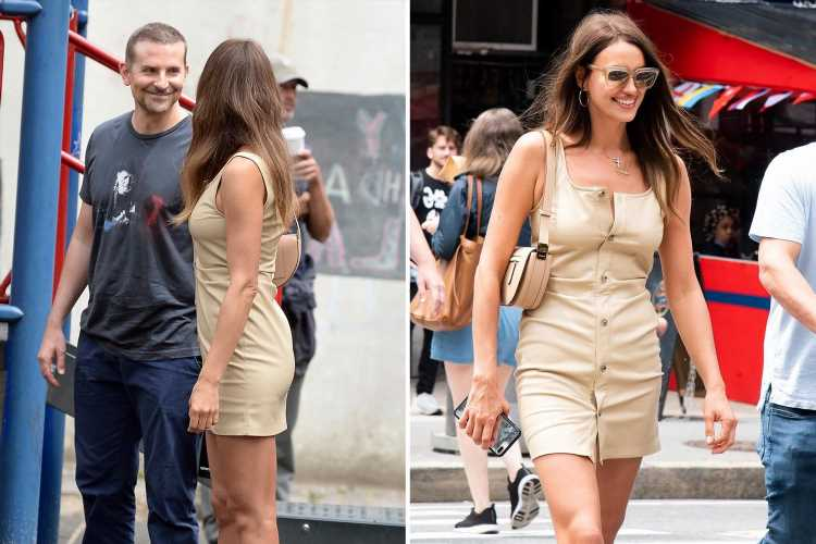 Irina Shayk all smiles as she hangs out with ex Bradley Cooper after rumours she's 'dating' Kanye West
