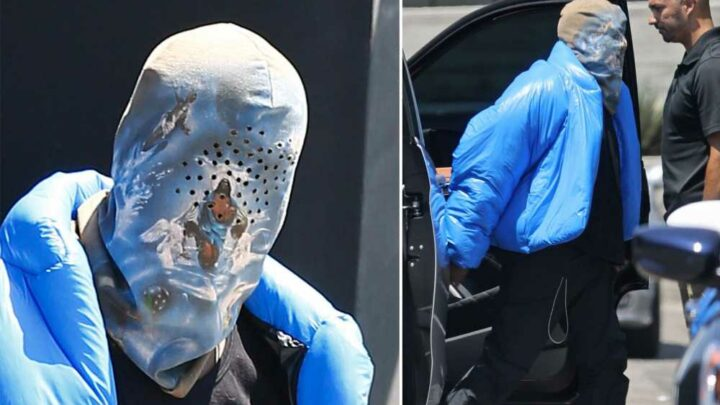 Kanye West rocks religious-themed face covering on 80-degree LA day