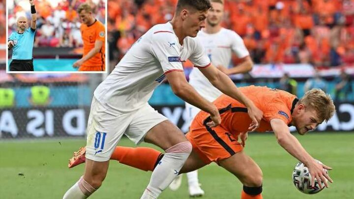 Matthijs De Ligt sent off for clear handball as last man in first VAR overrule at Euro 2020 in Holland clash with Czechs