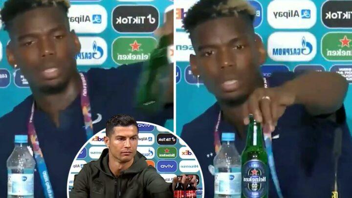 Paul Pogba mirrors Cristiano Ronaldo's Coke snub and removes Heineken bottle from Euro 2020 press conference